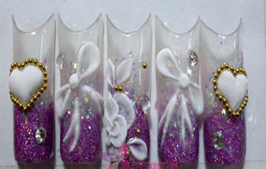 贴片水晶雕花美甲